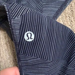 lululemon athletica Pants - navy and white stripped size 4 lulu leggings